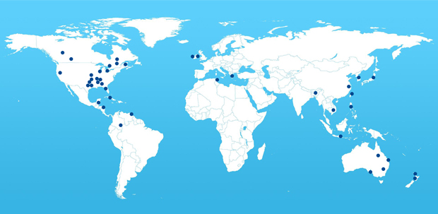 A World Map of Tranco Core Winding Machine Clients